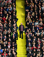 A Sheffield United spectator walks down the yellow painted steps at Bramall Lane<br /> <br /> Photographer Chris Vaughan/CameraSport<br /> <br /> The EFL Sky Bet League One - Sheffield United v Charlton Athletic - Saturday 18th March 2017 - Bramall Lane - Sheffield<br /> <br /> World Copyright &copy; 2017 CameraSport. All rights reserved. 43 Linden Ave. Countesthorpe. Leicester. England. LE8 5PG - Tel: +44 (0) 116 277 4147 - admin@camerasport.com - www.camerasport.com