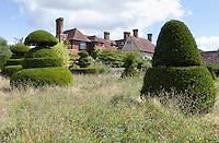 View across the topiary lawn at Great Dixter.