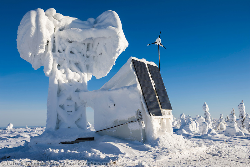 Frost and snow covered weather station in interior, Alaska.