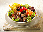 Stock photos of BBQ beef and a brochette of vegetables. Funky Stock library images of bbq food