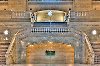 The East Balcony, currently occupied by an Apple Store, on the main concourse of historic Grand Central Terminal.  Grand Central Terminal is located in New York City, New York, USA