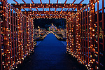 Southern Oregon Coast Shore Acres State Park Botanical Gardens Christmas Lights near Coos Bay Oregon State USA.