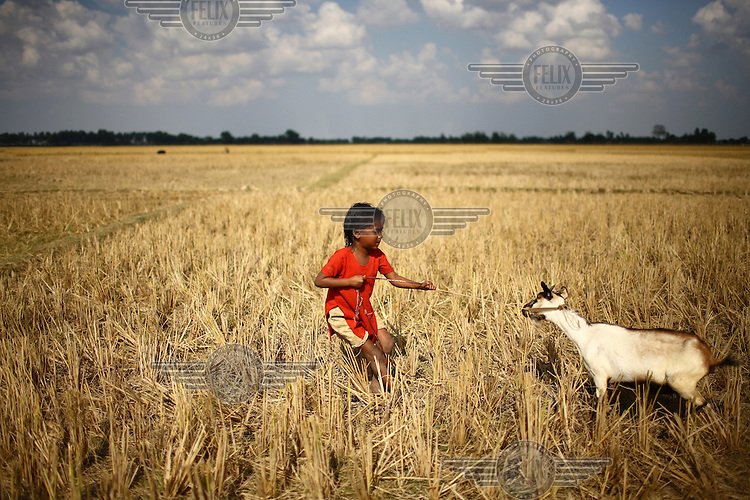 Norokul Begum's daughter with one of the goats she was able to buy thanks to a microfinance loan from IFAD (International Fund for Agricultural Development)...