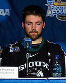 Chris Porter (University of North Dakota - Thunder Bay, ON) takes part in a press conference following the University of North Dakota Fighting Sioux's 6-4 loss in their 2007 Frozen Four semi-final on Thursday, April 5, 2007, at the Scottrade Center in St. Louis, Missouri.