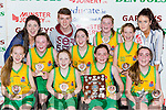The Gneeveguilla NS team celebrate after winning the Senior NS Girls A final on Friday front l-r: Roisin Brosnan, Chloe McCarthy, Ciara Hickey, Tara O'Leary. Back row: Aisling Collins, Caoimhe Guerin, Katelyn O'Leary, Roisin Collins and Amy Fleming and Michaela Ahern