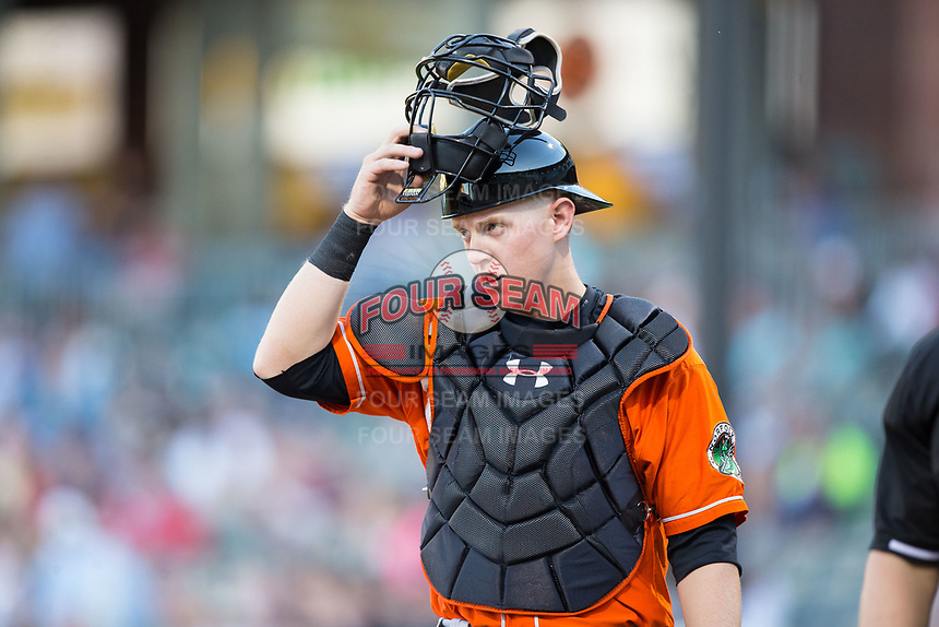 Norfolk Tides catcher Chance Sisco (23) on defense against the Charlotte Knights at BB&T BallPark on May 2, 2017 in Charlotte, North Carolina.  The Knights defeated the Tides 8-3.  (Brian Westerholt/Four Seam Images)