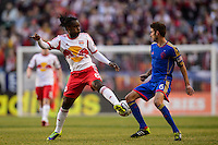 Peguy Luyindula (8) of the New York Red Bulls and Jose Mari (6) of the Colorado Rapids. The New York Red Bulls and the Colorado Rapids played to a 1-1 tie during a Major League Soccer (MLS) match at Red Bull Arena in Harrison, NJ, on March 15, 2014.
