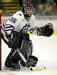 29 December 2007: Holy Cross Crusaders' goaltender Adam Roy, a Freshman from Feeding Hills, MA, in action against the University of Vermont Catamounts at Gutterson Fieldhouse in Burlington, Vermont. The Catamounts rallied in the final seconds of play to tie the game 1-1. After overtime, although the official result remained a tie game, the Cats moved up to the championship round by winning a sudden death shootout in the second game of the Sheraton/TD Banknorth Catamount Cup Tournament...Mandatory Photo Credit: Ed Wolfstein Photo