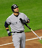 New York Yankees right fielder Nick Swisher (33) looks upset after taking a called strike as he bats in the sixth inning against the Baltimore Orioles at Oriole Park at Camden Yards in Baltimore, Maryland on Monday, August 29, 2011.  The Yankees won the game 3 - 2..Credit: Ron Sachs / CNP.(RESTRICTION: NO New York or New Jersey Newspapers or newspapers within a 75 mile radius of New York City)