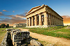 The ancient Doric Greek Temple of Hera of Paestum  built in about 460-450 BC. Paestrum archaeological site, Italy.