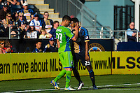 Lamar Neagle (27) of the Seattle Sounders and Sheanon Williams (25) of the Philadelphia Union go nose to nose moments before being ejected from the game during the second half. The Philadelphia Union and the Seattle Sounders played to a 2-2 tie during a Major League Soccer (MLS) match at PPL Park in Chester, PA, on May 4, 2013.