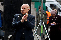Brian Eno, English musician - 2011<br /> <br /> London, 08/10/2011. Today Trafalgar Square was the stage of the &quot;Antiwar Mass Assembly&quot; organised by The Stop The War Coalition to mark the 10th Anniversary of the invasion of Afghanistan. Thousands of people gathered in the square to listen to speeches given by journalists, activists, politicians, trade union leaders, MPs, ex-soldiers, relatives and parents of soldiers and civilians killed during the conflict, and to see the performances of actors, musicians, writers, filmmakers and artists. The speakers, among others, included: Jeremy Corbin, Joe Glenton, Seumas Milne, Brian Eno, Sukri Sultan and Shadia Edwards-Dashti, Hetty Bower, Mark Cambell, Sanum Ghafoor, Andrew Murray, Lauren Booth, Kate Hudson, Sami Ramadani, Yvone Ridley, Mark Rylance, Dave Randall, Roger Lloyd-Pack, Rebecca Thorn, Sanasino al Yemen, Elvis McGonagall, Lowkey (Kareem Dennis), Tony Benn, John Hilary, Bruce Kent, John Pilger, Billy Hayes, Alison Louise Kennedy, Joan Humpheries, Jemima Khan, Julian Assange, Lindsey German, George Galloway. At the end of the speeches a group of protesters marched toward Downing Street where after a peaceful occupation the police made some arrests.