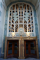 Marine motifs on the entrance to the art deco Marine Building, Vancouver, BC, Canada