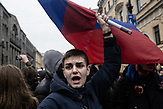 A young participant waves a flag and scants slogan as part of the anti-corruption protest organised by Russia oppositional Alexsei Navalny in Saint Petersburg and the rest of Russia on the 26.03.2017. With thouasands particpating these are the biggest demonstrations in Russia since 2011.