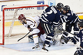 Brooks Dyroff (BC - 14), Connor Hardowa (UNH - 2), Brett Kostolansky (UNH - 15) - The Boston College Eagles and University of New Hampshire Wildcats tied 4-4 on Sunday, February 17, 2013, at Kelley Rink in Conte Forum in Chestnut Hill, Massachusetts.