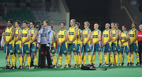 02.03.2010. Delhi,India.FIH World Cup Field Hockey.India verses Australia.Australian hockey players line up for the national anthem during the match against India  at the World Cup 2010 in New Delhi.Photo:Pankaj Nangia/Actionplus - Editorial Use