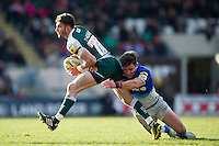 Owen Williams of Leicester Tigers is tackled by Nils Mordt of Saracens. Aviva Premiership match, between Leicester Tigers and Saracens on March 20, 2016 at Welford Road in Leicester, England. Photo by: Patrick Khachfe / JMP