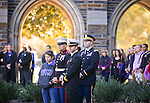 The Duke community gathers near Duke's Memorial Wall during the Veterans Day Ceremony on Friday, Nov. 11.