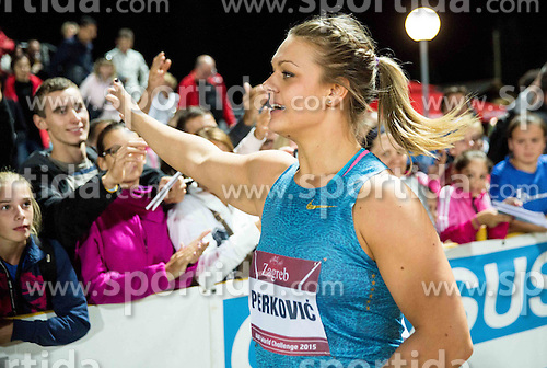 Sandra Perkovic of Croatia celebrates after winning in Discus Throw Women during IAAF World Challenge Zagreb - The 65th Hanzekovic Memorial Meeting, on September 8, 2015, in Stadium Mladost, Zagreb, Croatia. Photo by Vid Ponikvar / Sportida