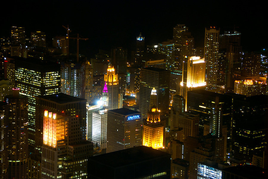 View of Chicago City From Sears Tower. The Sears Tower and Skydeck is National Landmark in the US.