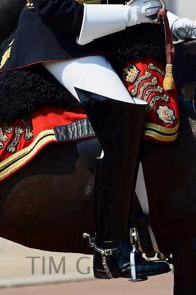 Boot of a Blues and Royals soldier of the Household Division in London, United Kingdom