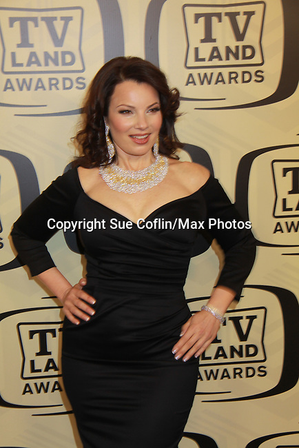 """Fran Drescher at the 10th Anniversary of the TV Land Awards on April 14, 2012 to honor shows """"Murphy Brown"""", """"Laverne & Shirley"""", """"Pee-Wee's Playhouse"""", """"In Loving Color"""" and """"One Day At A Time"""" and Aretha Franklin at the Lexington Armory, New York City, New York. (Photo by Sue Coflin/Max Photos)"""