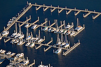 Connecticut, Greenwich, Indian Harbor Yacht club, boats aerial  Fairfield County Shoreline,