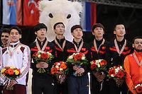 "SHORT TRACK: MOSCOW: Speed Skating Centre ""Krylatskoe"", 15-03-2015, ISU World Short Track Speed Skating Championships 2015, Podium Relay Men, CHINA, ©photo Martin de Jong"