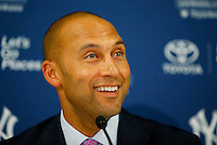 Derek Jeter #2 of the New York Yankees talks during a press conference following the final game of his career against the Boston Red Sox at Fenway Park on September 27, 2014 in Boston, Massachusetts. (Photo by Jared Wickerham for the New York Daily News)