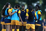 09 September 2016: West Virginia's Kadeisha Buchanan (CAN) (center) huddles with her team. The Duke University Blue Devils hosted the West Virginia University Mountaineers at Koskinen Stadium in Durham, North Carolina in a 2016 NCAA Division I Women's Soccer match. West Virginia won the match 3-1.