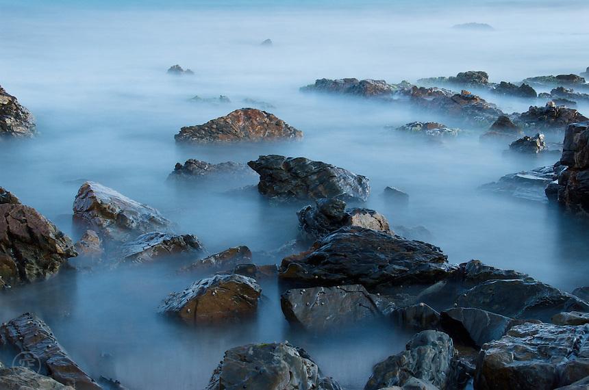 The rock pools at Basham's Beach, near Middleton, South Australia, taken at dusk using a long exposure