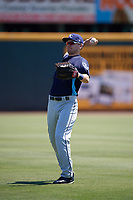 Charlotte Stone Crabs Ryan Boldt (20) warms up before a game against the Bradenton Marauders on April 9, 2017 at LECOM Park in Bradenton, Florida.  Bradenton defeated Charlotte 5-0.  (Mike Janes/Four Seam Images)