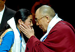 Dalai Lama wishes a young student long life and health, Key Arena, Seattle, WA  April, 2008