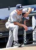 New York Yankees manager Joe Girardi (28) watches the action against the Baltimore Orioles at Oriole Park at Camden Yards in Baltimore, Maryland in the first game of a doubleheader on Sunday, August 28, 2011.  The Orioles won the game 2 - 0..Credit: Ron Sachs / CNP.(RESTRICTION: NO New York or New Jersey Newspapers or newspapers within a 75 mile radius of New York City)