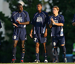 2 September 2007: Old Dominion's Yomby William (CMR) (8), Nane Joseph (CMR) (7), Daniel Haywood (ENG) (9). The University of North Carolina Tar Heels tied the Old Dominion University Monarchs 1-1 at Fetzer Field in Chapel Hill, North Carolina in an NCAA Division I Men's Soccer game.