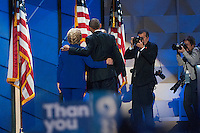 July 27, 2016 - Philadelphia, Pennsylvania: At the end of President Obama's speech Hillary Clinton came out and gave the President a hug and the two left the stage together.