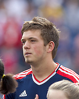 New England Revolution midfielder Kelyn Rowe (11). In a Major League Soccer (MLS) match, DC United defeated the New England Revolution, 2-1, at Gillette Stadium on April 14, 2012.