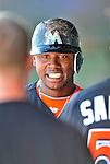 13 March 2012: Miami Marlins third baseman Hanley Ramirez returns to the dugout after scoring during a Spring Training game against the Atlanta Braves at Roger Dean Stadium in Jupiter, Florida. The two teams battled to a 2-2 tie playing 10 innings of Grapefruit League action. Mandatory Credit: Ed Wolfstein Photo