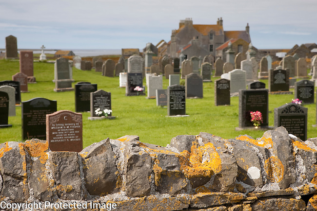 Graveyard by Scar House on Sanday in the Orkney Islands, Scotland