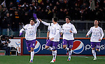 Calcio, Serie A: Roma vs Fiorentina. Roma, stadio Olimpico, 8 dicembre 2012..Fiorentina defender Roncaglia Facundo, of Argentina, left, celebrates with teammates, from second left, Stefan Savic, Stefan Savic and Borja Valero after scoring during the Italian Serie A football match between AS Roma and Fiorentina at Rome's Olympic stadium, 8 december 2012..UPDATE IMAGES PRESS/Isabella Bonotto