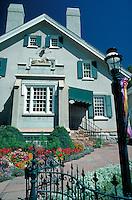 The Latter Day Saints (Mormon) Lion House at Temple Square, Salt Lake City, Utah. architecture, gardens, ornamental ironwork gate. Salt Lake City Utah.