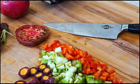 BNPS.co.uk (01202 558833)<br /> Pic: KNASA/BNPS<br /> <br /> One small step for man, one giant leap for knifes ...<br /> <br /> Engineers at NASA have helped to create an extra sharp knife you almost never have to sharpen.<br /> <br /> The revolutionary new KNASA Chef Knife is twice as sharp as other knifes and stays sharp for five times longer.<br /> <br /> The brains behind it claim it's 'the first true innovation in knife making in over 200 years'.<br /> <br /> The knife is made from an ultra-hard alloy developed by boffins at the California Institute of Technology (Caltech) and has been tested by engineers at NASA who are more used to spending rockets into space.