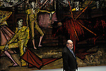 Bernard Buffet French artist expressionist painter (1928-1999) Circa 1995. With signature painting of Matadors at a Bull Fight.  Exhibition Kassal Germany.