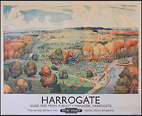 BNPS.co.uk (01202 558833)<br /> Pic: Onslows/BNPS<br /> <br /> ***Please use full byline***<br /> <br /> Well chuffed...Staycation posters from the golden age of steam found under a carpet.<br /> <br /> Harrogate in Yorkshire.<br /> <br /> A property developer is celebrating after discovering a &pound;15,000 booty of treasure under a tatty old carpet in a run down property he was renovating in Edinburgh.<br /> <br /> The fascinating set of vintage posters from the golden age of British rail travel were spread under a carpet and in near perfect condition.<br /> <br /> The posters date back to the late 1940s and advertise seaside resorts around the country that could be visited by rail.<br /> <br /> It is thought the collection of 10 posters belonged to a railway worker who used them to line the floorboards of his house in Edinburgh around 60 years ago.<br /> <br /> But despite being worthless then, the posters are now much sought after, and are estimated to be worth at least &pound;1500 each.<br /> <br /> The collection is tipped to fetch &pound;15,000 when it goes under the hammer at Onslows in Blandford, Dorset.