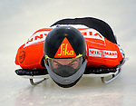 14 December 2007: Ben Sandford, racing for New Zealand, starts his first run at the FIBT World Cup Skeleton Competition at the Olympic Sports Complex on Mount Van Hovenberg, at Lake Placid, New York, USA. ..Mandatory Photo Credit: Ed Wolfstein Photo