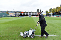 A general view of a groundsman painting the lines on the pitch. Aviva Premiership match, between Bath Rugby and Exeter Chiefs on October 17, 2015 at the Recreation Ground in Bath, England. Photo by: Patrick Khachfe / Onside Images