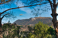 Space shuttle Endeavour over Los Angeles CA; Griffith Observatory; Hollywood Sign