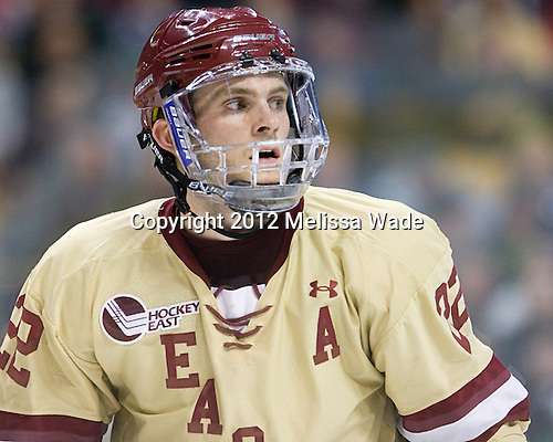 Paul Carey (BC - 22) - The Boston College Eagles defeated the University of Maine Black Bears 4-1 to win the 2012 Hockey East championship on Saturday, March 17, 2012, at TD Garden in Boston, Massachusetts.