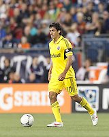 Columbus Crew midfielder Milovan Mirosevic (10) at midfield. In a Major League Soccer (MLS) match, the New England Revolution tied the Columbus Crew, 0-0, at Gillette Stadium on June 16, 2012.