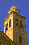 Europe, Italy, Portofino. Portofino church tower on the Mediteranean coast of Italy.